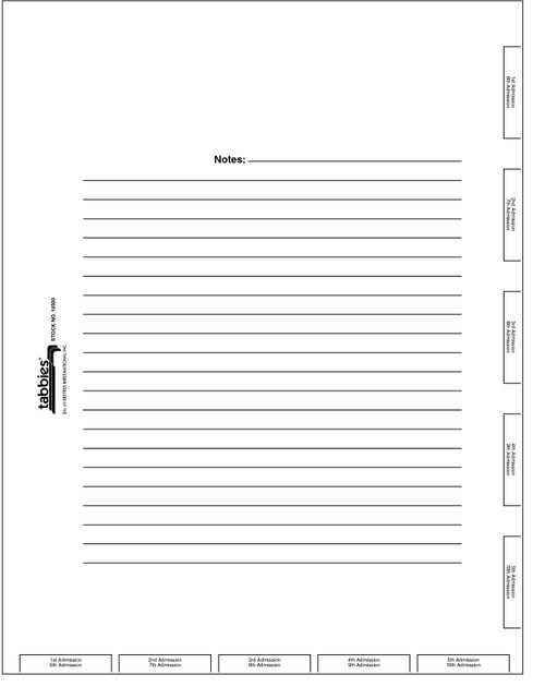 "Tabbies 14500 - 14500 ADMISSION CHART DIVIDER SHEETS, 4-HOLE PUNCHED ADMISSION INDEX DIVIDER SHEETS, WHITE, 8-1/2""W x 11""H, 400/BOX"