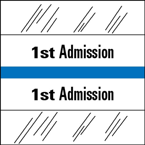 "Tabbies 14501 - 14500 ADMISSION INDEX TABS, 1ST ADMISSION, LIGHT BLUE, 1-1/2""H x 1-1/2""W, 100/PACK"