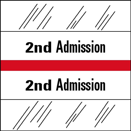 "Tabbies 14502 - 14500 ADMISSION INDEX TABS, 2ND ADMISSION, RED, 1-1/2""H x 1-1/2""W, 100/PACK"