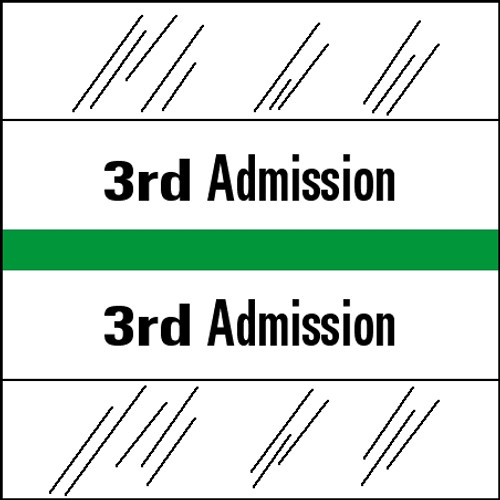"Tabbies 14503 - 14500 ADMISSION INDEX TABS, 3RD ADMISSION, LIGHT GREEN, 1-1/2""H x 1-1/2""W, 100/PACK"