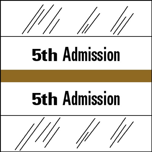 "Tabbies 14505 - 14500 ADMISSION INDEX TABS, 5TH ADMISSION, GOLD, 1-1/2""H x 1-1/2""W, 100/PACK"