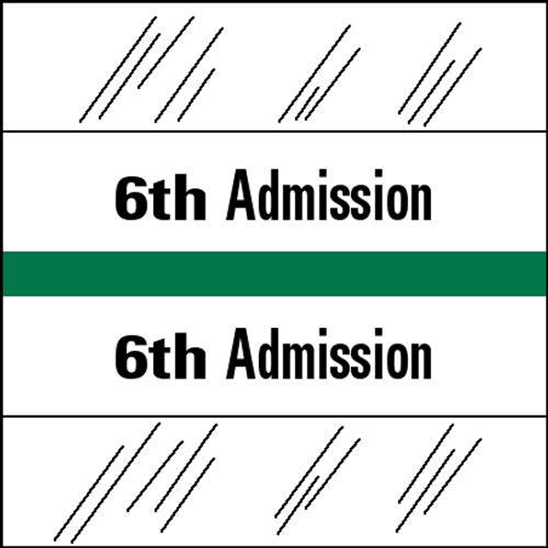"Tabbies 14506 - 14500 ADMISSION INDEX TABS, 6TH ADMISSION, GREEN, 1-1/2""H x 1-1/2""W, 100/PACK"