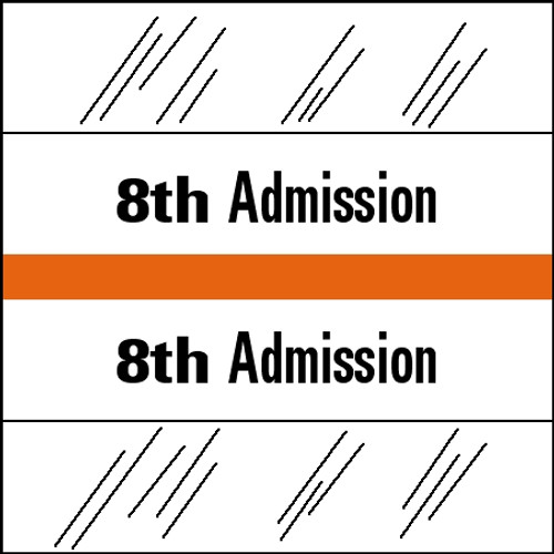 "Tabbies 14508 - 14500 ADMISSION INDEX TABS, 8TH ADMISSION, ORANGE, 1-1/2""H x 1-1/2""W, 100/PACK"