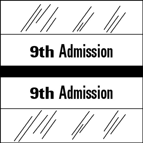 "Tabbies 14509 - 14500 ADMISSION INDEX TABS, 9TH ADMISSION, BLACK, 1-1/2""H x 1-1/2""W, 100/PACK"