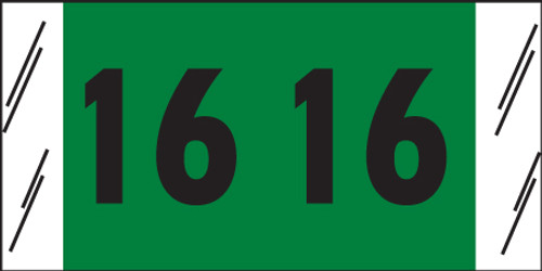 "Tabbies 14716 - ORIGINAL COL'R'TAB® DIGI-KOLOR YEARCODE 14700 LABEL SERIES, 3/4"" DIGI-KOLOR YEARCODE LABELS '16', DARK GREEN, 3/4""H x 1-1/2""W, 1,000/ROLL"