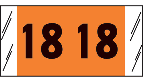 "Tabbies 14718 - ORIGINAL COL'R'TAB® DIGI-KOLOR YEARCODE 14700 LABEL SERIES, 3/4"" DIGI-KOLOR YEARCODE LABELS '18', ORANGE, 3/4""H x 1-1/2""W, 1,000/ROLL"