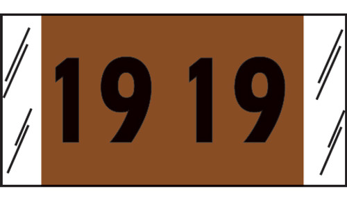 "Tabbies 14719 - ORIGINAL COL'R'TAB® DIGI-KOLOR YEARCODE 14700 LABEL SERIES, 3/4"" DIGI-KOLOR YEARCODE LABELS '19', BROWN, 3/4""H x 1-1/2""W, 1,000/ROLL"