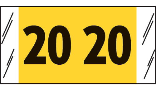 "Tabbies 14720 - ORIGINAL COL'R'TAB® DIGI-KOLOR YEARCODE 14700 LABEL SERIES, 3/4"" DIGI-KOLOR YEARCODE LABELS '20', YELLOW, 3/4""H x 1-1/2""W, 1,000/ROLL"