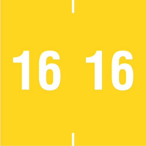 """Tabbies 14916 - AMES COMPATIBLE YEARCODE 14900 LABEL SERIES, 1-7/8"""" YEARCODE LABELS '16', YELLOW, 1-7/8""""H x 1-7/8""""W, 500/ROLL"""