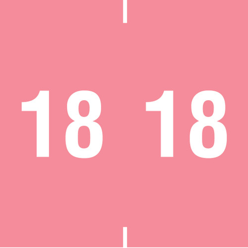 """Tabbies 14918 - AMES COMPATIBLE YEARCODE 14900 LABEL SERIES, 1-7/8"""" YEARCODE LABELS '18', PINK, 1-7/8""""H x 1-7/8""""W, 500/ROLL"""