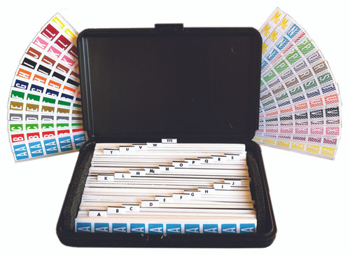 "Tabbies 32000 - ORIGINAL COL'R'TAB® ALPHA 82000 LABEL SERIES KIT, 82000 SERIES ALPHA LABEL KIT, KIT INCLUDES: 20 STRIPS EACH VOWEL, 10 STRIPS EACH CONSONANT, 12""L x 8""W x 2-1/4""D, 3,200 LABELS/KIT"