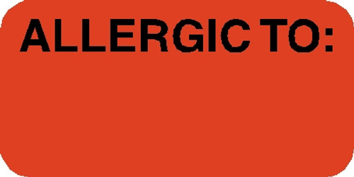"""Tabbies 40525 - """"ALLERGIC TO:"""" Label"""" FLUORESCENT RED, 3/4""""H x 1-1/2""""W, 250/ROLL"""