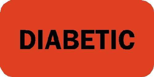 """Tabbies 40528 - REMIND'R'LABELS, """"DIABETIC"""" - FLUORESCENT RED, 3/4""""H x 1-1/2""""W, 250/ROLL"""