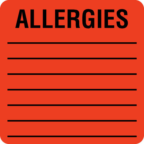 "Tabbies 40560 - ALLERGY LABELS, ALLERGIES, FLUORESCENT RED, 2""W x 2""H, 500/ROLL"