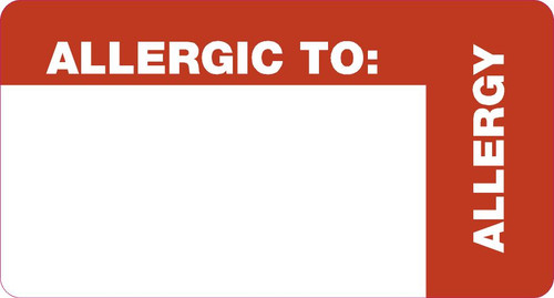 """Tabbies 40563 - ALLERGY LABELS, ALLERGIC TO: (WRAP AROUND), WHITE & RED, 1-3/4""""W x 3-1/4""""H, 500/ROLL"""