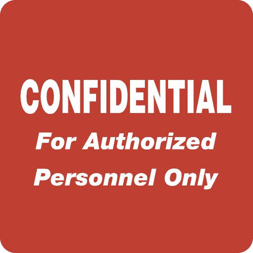 "Tabbies 40570 - HIPAA LABELS, CONFIDENTIAL FOR AUTHORIZED PERSONNEL ONLY, RED, 2""W x 2""H, 500/ROLL"