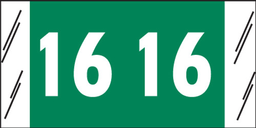 "Tabbies 51716 - ORIGINAL COL'R'TAB® YEARCODE 51700 LABEL SERIES, 3/4"" YEARCODE LABEL '16', GREEN, 3/4""H x 1-1/2""W, 500/ROLL"