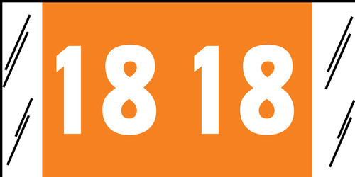 "Tabbies 51718 - ORIGINAL COL'R'TAB® YEARCODE 51700 LABEL SERIES, 3/4"" YEARCODE LABEL '18', ORANGE, 3/4""H x 1-1/2""W, 500/ROLL"