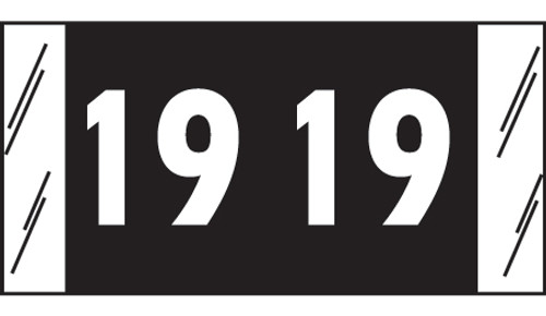 "Tabbies 51719 - ORIGINAL COL'R'TAB® YEARCODE 51700 LABEL SERIES, 3/4"" YEARCODE LABEL '19', BLACK, 3/4""H x 1-1/2""W, 500/ROLL"