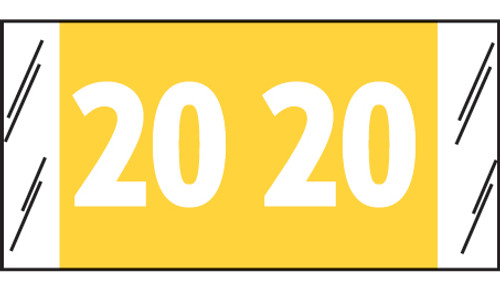 "Tabbies 51720 - ORIGINAL COL'R'TAB® YEARCODE 51700 LABEL SERIES, 3/4"" YEARCODE LABEL '20', YELLOW, 3/4""H x 1-1/2""W, 500/ROLL"
