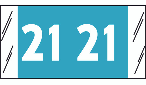 "Tabbies 51721 - ORIGINAL COL'R'TAB® YEARCODE 51700 LABEL SERIES, 3/4"" YEARCODE LABEL '21', LIGHT BLUE, 3/4""H x 1-1/2""W, 500/ROLL"