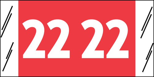 "Tabbies 51722 - ORIGINAL COL'R'TAB® YEARCODE 51700 LABEL SERIES, 3/4"" YEARCODE LABEL '22', RED, 3/4""H x 1-1/2""W, 500/ROLL"