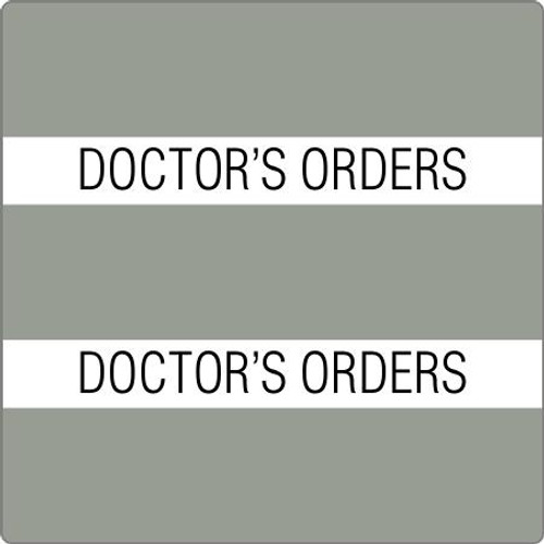 "Tabbies 52104 - 52100 PATIENT CHART INDEX TABS, DOCTORS ORDERS, GRAY, 1-1/2""H x 1-1/2""W, 102/PACK"