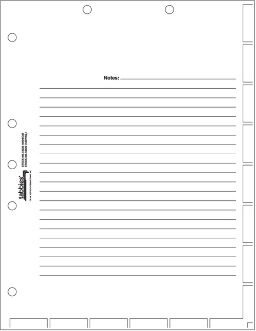 "Tabbies 53520 - 54520 MEDICAL CHART INDEX DIVIDER SHEETS, MEDICAL CHART DIVIDER SHEET, WHITE, 11""H x 8-1/2""W, 100/PACK"