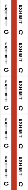 "Tabbies 58073 - ALPHA EXHIBIT INDEX TABS, ALPHABETICAL EXHIBIT INDEX TABS ""EXHIBIT C"", RED COLOR EDGE, 1"" TABS, 50 TABS/PACK, 5 PACKS/BOX"