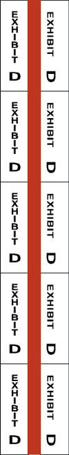 "Tabbies 58074 - ALPHA EXHIBIT INDEX TABS, ALPHABETICAL EXHIBIT INDEX TABS ""EXHIBIT D"", RED COLOR EDGE, 1"" TABS, 50 TABS/PACK, 5 PACKS/BOX"