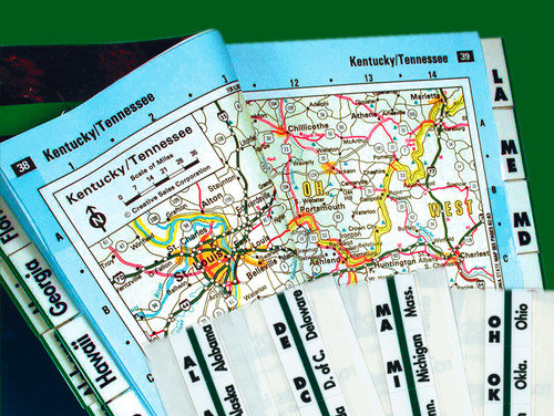 "Tabbies 58314 - ROAD ATLAS INDEX TABS, 1"" ROAD ATLAS TABS, 53 TABS/PACK, GREEN COLOR EDGE, 1""W, 10 PACKS/BOX"