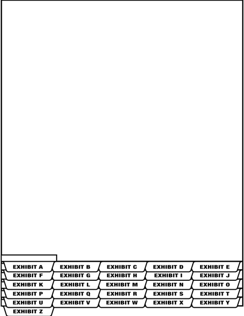 "Tabbies 67901 - LEGAL EXHIBIT ALPHA INDEX DIVIDER SHEETS - BOTTOM TAB, EXHIBIT A INDEX DIVIDER SHEET BOTTOM TAB, WHITE, 8-1/2""W x 11""H, 1/2"" TAB EXTENSION, 25/PACK"