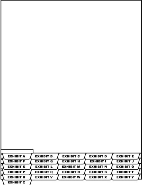 "Tabbies 67906 - LEGAL EXHIBIT ALPHA INDEX DIVIDER SHEETS - BOTTOM TAB, EXHIBIT F INDEX DIVIDER SHEET BOTTOM TAB, WHITE, 8-1/2""W x 11""H, 1/2"" TAB EXTENSION, 25/PACK"