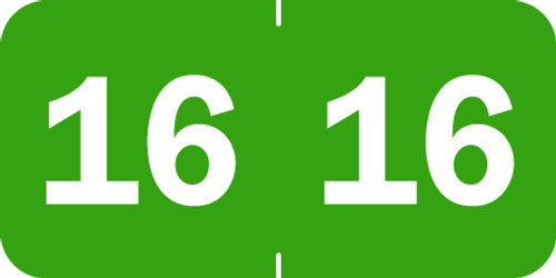 "Tabbies 70216 - ORIGINAL TABBIES® YEARCODE 70200 LABEL SERIES, 3/4"" YEARCODE LABEL '16' LIGHT GREEN, 3/4""H x 1-1/2""W, 500/ROLL"