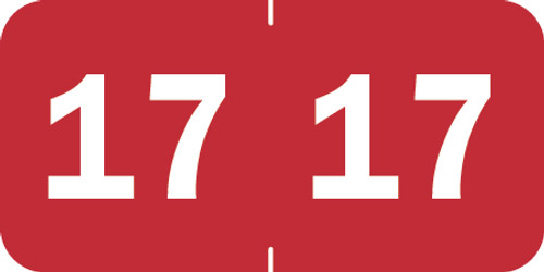 "Tabbies 70217 - ORIGINAL TABBIES® YEARCODE 70200 LABEL SERIES, 3/4"" YEARCODE LABEL '17' RED, 3/4""H x 1-1/2""W, 500/ROLL"