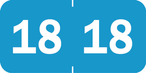 "Tabbies 70218 - ORIGINAL TABBIES® YEARCODE 70200 LABEL SERIES, 3/4"" YEARCODE LABEL '18' LIGHT BLUE, 3/4""H x 1-1/2""W, 500/ROLL"