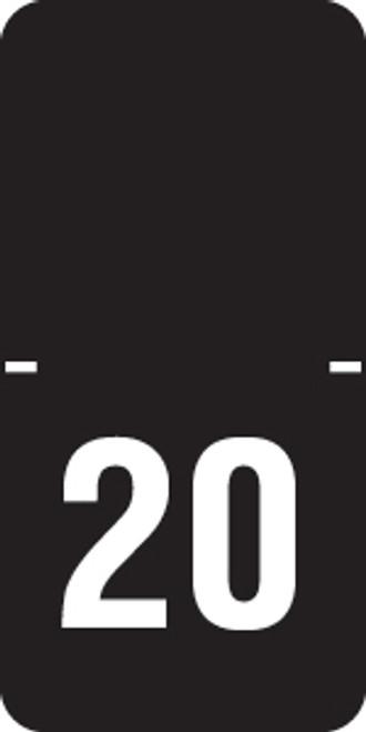 "Tabbies 70520 - ORIGINAL TABBIES® TOP TAB YEARCODE 70500 LABEL SERIES, 1/2"" HORIZONTAL YEARCODE LABEL '20', BLACK, 1""H x 1/2""W, 250/PACK"