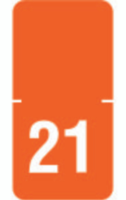 "Tabbies 72521 - ORIGINAL TABBIES® TOP TAB YEARCODE 70500 LABEL SERIES, 1/2"" HORIZONTAL YEARCODE LABEL '21', ORANGE, 1""H x 1/2""W, 250/PACK"