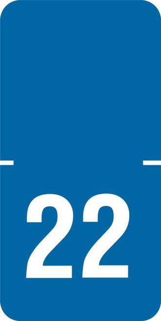 "Tabbies 72522 - ORIGINAL TABBIES® TOP TAB YEARCODE 70500 LABEL SERIES, 1/2"" HORIZONTAL YEARCODE LABEL '22', BLUE, 1""H x 1/2""W, 250/PACK"