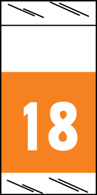 "Tabbies 71718 - ORIGINAL COL'R'TAB® 71700 YEARCODE LABEL SERIES, 3/4"" YEARCODE LABEL '18', ORANGE, 3/4""H x 1-1/2""W, 1,000/ROLL"