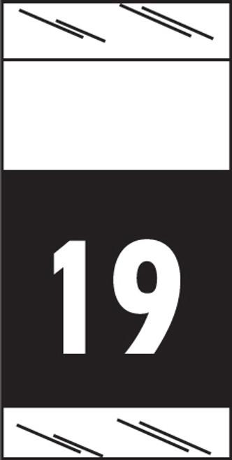 "Tabbies 71719 - ORIGINAL COL'R'TAB® 71700 YEARCODE LABEL SERIES, 3/4"" YEARCODE LABEL '19', BLACK, 3/4""H x 1-1/2""W, 1,000/ROLL"
