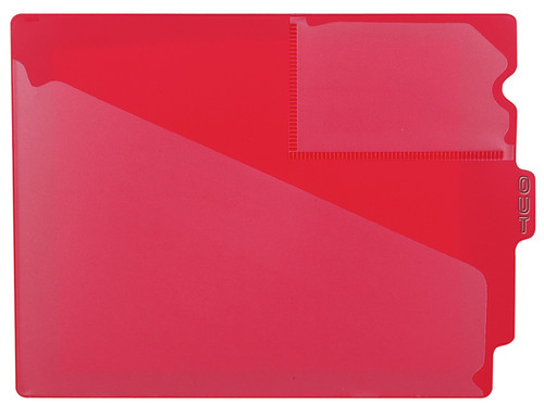 "Tabbies 74500 - RED CENTER TAB VINYL OUTGUIDE, LETTER - OVERALL: 9-1/2""H x 12-7/8""W, BODY SIZE: 9-1/2""H x 12-3/8""W, RED, 10/PACK"