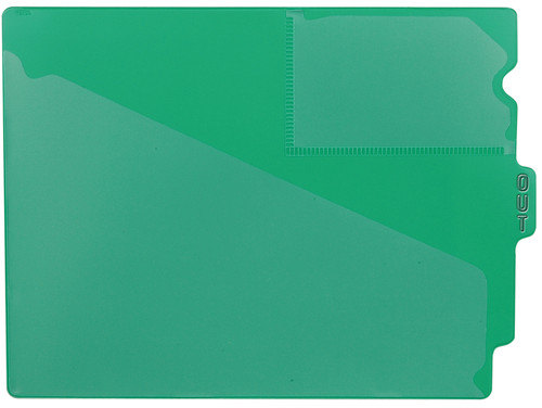 "Tabbies 74502 - GREEN CENTER TAB VINYL OUTGUIDE,  LETTER - OVERALL: 9-1/2""H x 12-7/8""W, BODY SIZE: 9-1/2""H x 12-3/8""W, GREEN, 10/PACK"