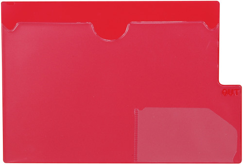 "Tabbies 74580 - RED LARGE TAB VINYL OUTGUIDE, OVERALL: 9""H x 13-1/4""W, BODY SIZE: 9""H x 12""W, RED, 10/PACK"