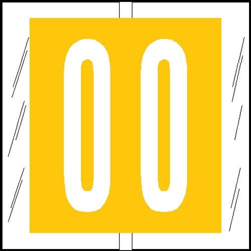 "Tabbies 81500 - ORIGINAL COL'R'TAB® NUMERIC 81500 LABEL SERIES, 1-1/2"" NUMERIC TAB '#0', YELLOW, 1-1/2""H x 1-1/2""W, 104/PACK"