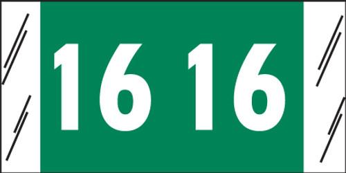 "Tabbies 81716 - ORIGINAL COL'R'TAB® YEARCODE 81700 LABEL SERIES, 3/4"" YEARCODE TAB '16', GREEN, 3/4""H x 1-1/2""W, 250/PACK"