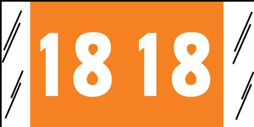 "Tabbies 81718 - ORIGINAL COL'R'TAB® YEARCODE 81700 LABEL SERIES, 3/4"" YEARCODE TAB '18', ORANGE, 3/4""H x 1-1/2""W, 250/PACK"