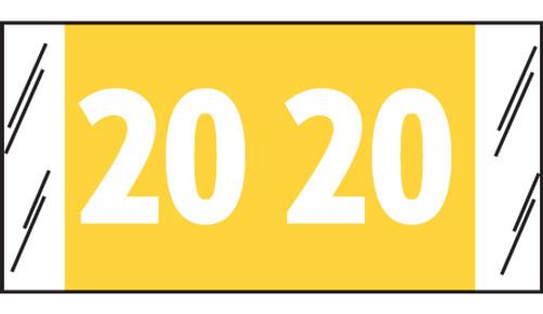 "Tabbies 81720 - ORIGINAL COL'R'TAB® YEARCODE 81700 LABEL SERIES, 3/4"" YEARCODE TAB '20', YELLOW, 3/4""H x 1-1/2""W, 250/PACK"