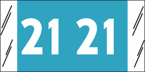 "Tabbies 81721 - ORIGINAL COL'R'TAB® YEARCODE 81700 LABEL SERIES, 3/4"" YEARCODE TAB '21', LIGHT BLUE, 3/4""H x 1-1/2""W, 250/PACK"