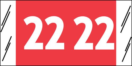 "Tabbies 81722 - ORIGINAL COL'R'TAB® YEARCODE 81700 LABEL SERIES, 3/4"" YEARCODE TAB '22', RED, 3/4""H x 1-1/2""W, 250/PACK"